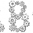 Vector alphabet of caricature letters from spinning gears — ストックベクタ