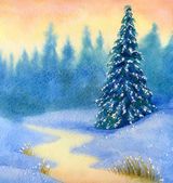 Watercolor landscape. Snow-covered spruce forest — Stock Photo