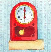 Serie de acuarelas. reloj de pared con una pancarta para texto — Foto de Stock