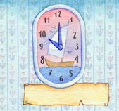 Series of watercolors. Wall clock with a banner for text — Stock Photo