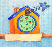 Series of watercolors. Wall clock with banner for text — Stockfoto