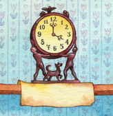 Series of watercolors. Wall clock with banner for text — Foto de Stock