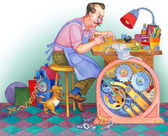 Watercolor illustration. Watchmaker at his workshop — Stock Photo