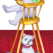 Watercolor illustration. Baby in highchair drinking milk — Stock Photo #41002791