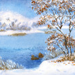 Watercolor landscape. Winter snow on a cloudy day on the lake — Stock Photo #41261521