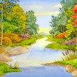 Watercolor landscape. Autumn Brook — Stock Photo