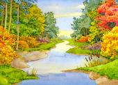 Watercolor landscape. Autumn Brook — Stock Photo