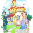 Watercolor picture. Fairytale castle mansion watchmaker — Stock Photo