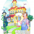 Stock Photo: Watercolor picture. Fairytale castle mansion watchmaker