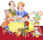 Watercolor illustration. Happy family for a festive tea — Stock Photo