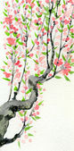 Watercolor spring background. Pink flowers on tree branches — Stock Photo