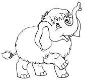Vector cartoon. Little baby mammoth — Stock Vector