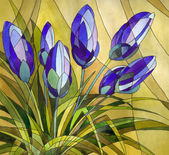 Decorative painting. Abstract blue flowers — Stockfoto