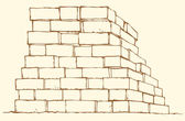 Vector monochrome drawing. Stack of bricks — Stock Vector