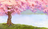 Watercolor landscape. Flowering pink tree by the lake — Stock Photo