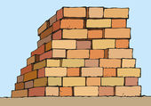Vector drawing. Stack of red bricks — Stock Vector
