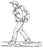 Vector drawing. Traveler with a backpack going up the path — Stock Vector