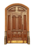 Beautiful carved wooden mahogany door — Stock Photo