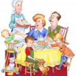 Watercolor illustration. Happy family for a festive tea — Stock Photo #42522541
