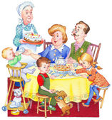 Watercolor illustration. Happy family for a festive tea — Stock Photo