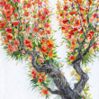Watercolor background. Spring blooming of an old tree — Photo