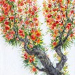 Watercolor background. Spring blooming of an old tree — Stok fotoğraf