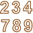 Vector numerals with texture of wood — Stock Vector