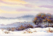 Watercolor winter landscape. Trees on the hill — Stock Photo