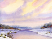 Watercolor winter landscape. Evening sky over river — Stock Photo
