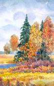 Watercolor landscape. Yellowing trees near a stream — Stockfoto