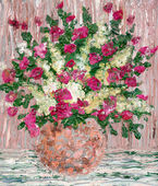 Oil painting. A lush bouquet of fresh flowers — Stock Photo
