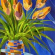 Abstract orange flowers in vivid mottled vase — Stock Photo