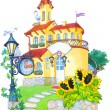 Watercolor picture. Fairytale castle mansion — Stock Photo