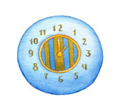 Series of watercolors. Wall clock isolated on white background — Stock Photo