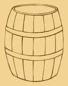 Vector illustration of old wooden barrel — Vecteur