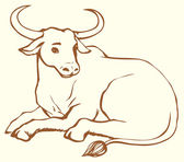 Vector contour illustration of lying cow with big horns — Vector de stock