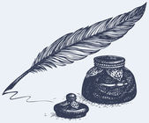 Vector freehand drawing of ancient pen and inkwell — Cтоковый вектор