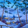Watercolor landscape. Night at the winter village — Stock Photo #45727783