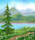 Watercolor landscape. Spruce near the trail on a hill — Stock Photo