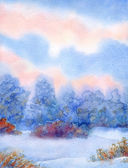 Watercolor background with quiet sunset over winter forest — 图库照片