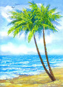 Watercolor landscape. Tall palms on sandy beach — Stock Photo