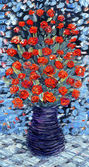 Still life oil. Bouquet of red flowers on blue background — Stock Photo