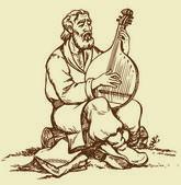 Vector drawing. Old Ukrainian musician plays the bandura — Stock Vector