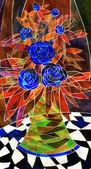 Gouache still life. Elegant corsage of dark blue roses — Stock Photo