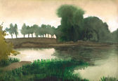 Watercolor landscape. Trees on the shore of quiet lake — Stock Photo