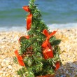Stock Photo: Christmas tree on beach