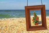 Julgran och fotografiska ram — Stockfoto
