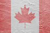 Canadian flag on the ice — Photo