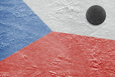 Czech flag and puck on the ice — Foto Stock
