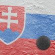 Slovak flag and puck on ice — Stock Photo #37619127